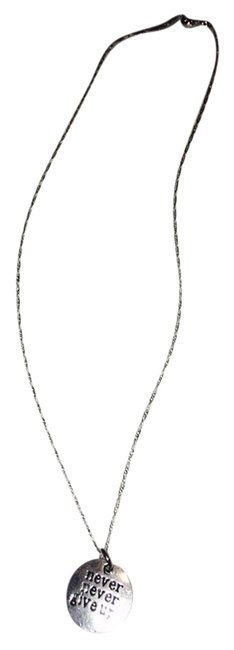 """Silver """"Never Never Give Up"""" On Sterling Chain Silver """"Never Never Give Up"""" On Sterling Chain Image 1"""