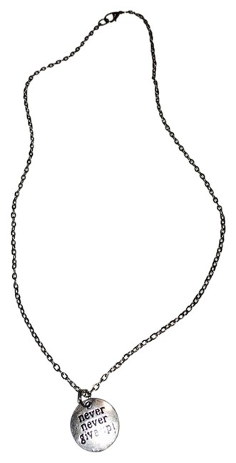 """Silver """"Never Never Give Up"""" Necklace Silver """"Never Never Give Up"""" Necklace Image 1"""
