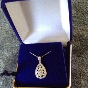 Zales White 14k Gold Diamond Necklace