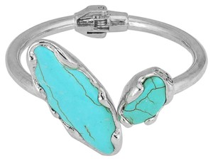 Other Semi Precious Stone Turquoise Hinged Silver Bangle Bracelet Cuff