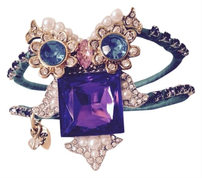 Betsey Johnson Purple/Turquoise Crystal Owl Hinged Bracelet Betsey Johnson Purple/Turquoise Crystal Owl Hinged Bracelet Image 1