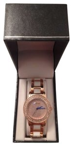 August Steiner Rose Gold, Crystal Glitz Link Bracelet Watch
