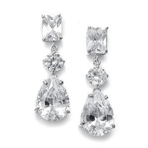 Mariell Shimmering Cz Earrings With Emerald Cut Top And Pear Shaped Drop 546e-cr