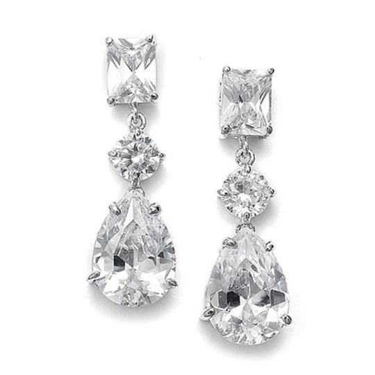 Mariell Silver Shimmering Cz with Emerald Cut Top and Pear Shaped Drop 546e-cr Earrings