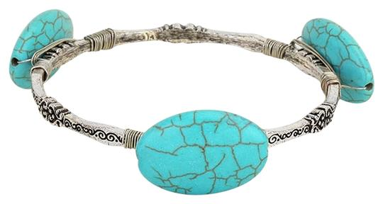 Preload https://img-static.tradesy.com/item/3391459/turquoise-silverrhodium-semi-precious-stone-bangle-bracelet-0-0-540-540.jpg