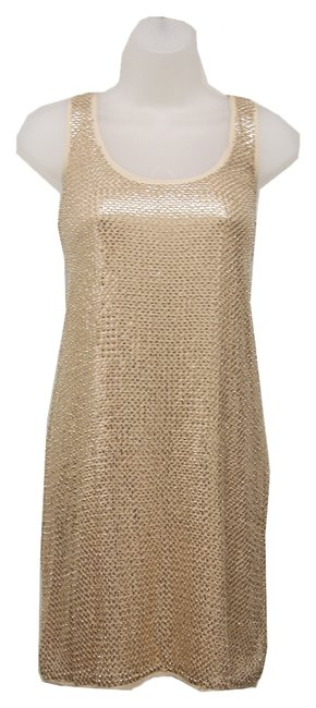 Item - Gold Pellina Silk Sequin Mid-length Night Out Dress Size 8 (M)