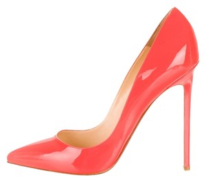 Christian Louboutin Neon Patent Patent Leather Stiletto Pointed Toe So So Kate Orange Pumps