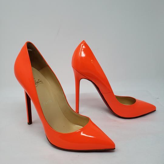 Christian Louboutin Neon Patent Patent Leather Pointed Toe So Kate Orange Pumps
