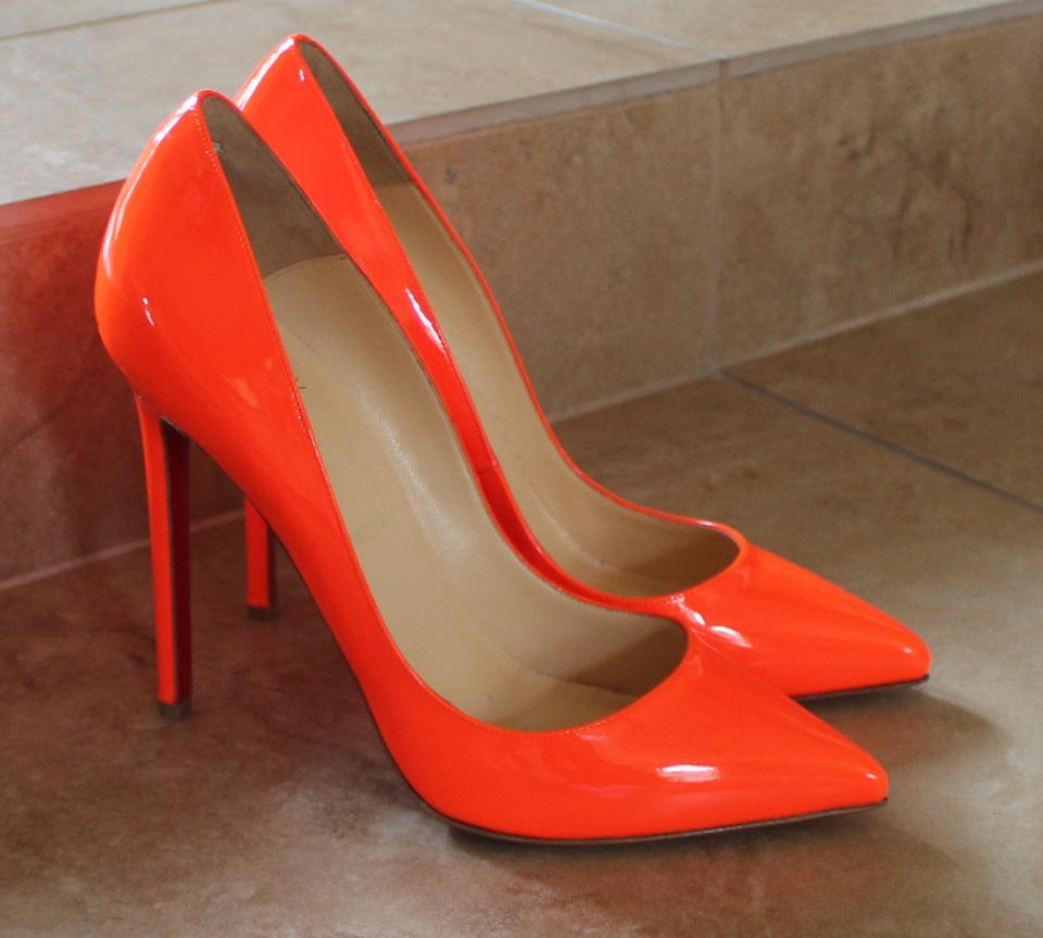 8f17a15ad06 Christian Louboutin Orange Neon Patent Leather So Kate Pumps Size .
