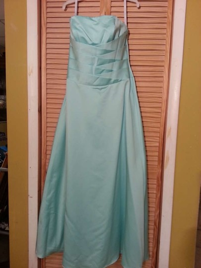 Alfred Angelo Seafoam Satin 6333 Formal Bridesmaid/Mob Dress Size 14 (L)