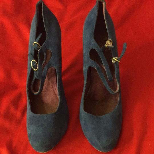 Jeffrey Campbell Suede High Heels Double Straps Comfortable Great Condition Blue Pumps