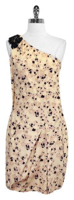 Preload https://item5.tradesy.com/images/vera-wang-lavender-label-tan-floral-print-cotton-one-shoulder-mini-short-casual-dress-size-8-m-3392224-0-0.jpg?width=400&height=650