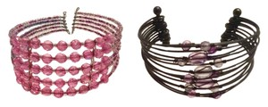 Forever 21 Forever 21 Set of 2 Bead Lightweight Bracelets - Hematite and Pink