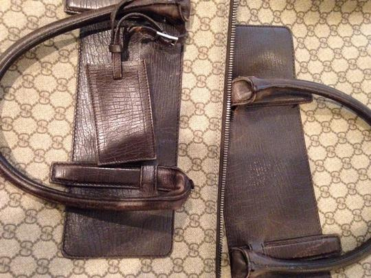 Gucci Leather Duffle Vacation Monogram Brown/tan Travel Bag