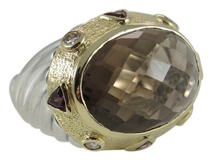 David Yurman David Yurman Sterling Silver 18K Gold Smoky Quartz Diamond Ring