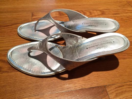 Donald J. Pliner Low Heel Sexy Spring Silver Sandals
