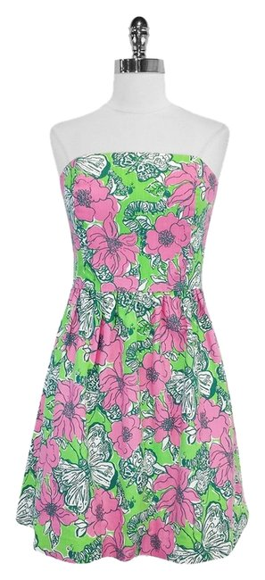 Preload https://item3.tradesy.com/images/lilly-pulitzer-pink-and-green-floral-print-strapless-mini-short-casual-dress-size-10-m-3392527-0-0.jpg?width=400&height=650
