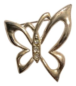 Silver Rhinestone Butterfly Small Pin Brooch