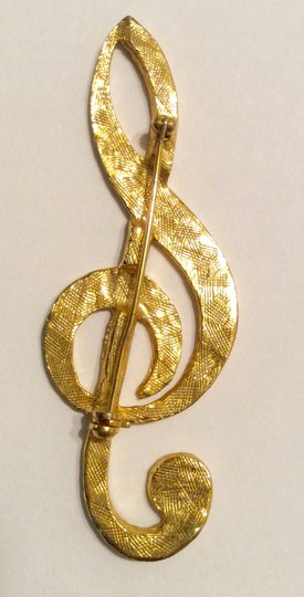 Other Gold Rhinestone Cleft Music Sign Pin Brooch
