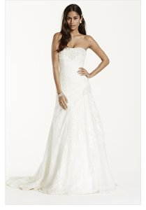 David's Bridal Ivory Lace & Tulle Yp3344 Traditional Wedding Dress Size 14 (L)