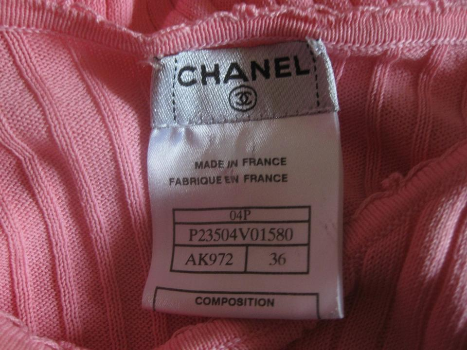 Chanel pink shirt logo knit 04p 36 ribbed 2004 spring t for Authentic chanel logo t shirt