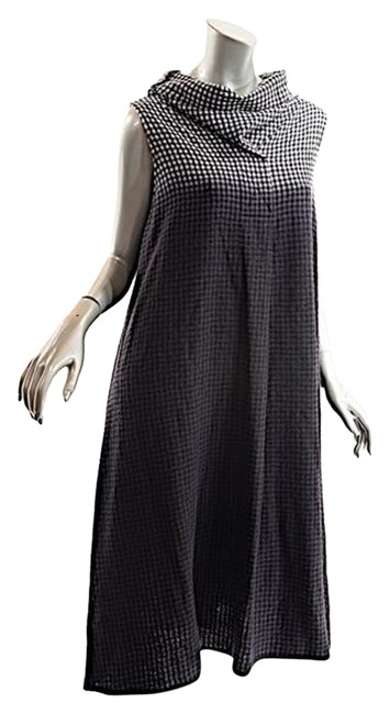 Item - Black & White Ombre Black/White/Gray Wool Blend Checker/Ombre Cowl 38/Us6 Mid-length Casual Maxi Dress Size 6 (S)