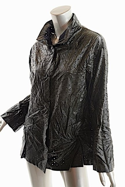 Babette Faux Leather Crinkled Perforated Shirt Deep Olive Jacket