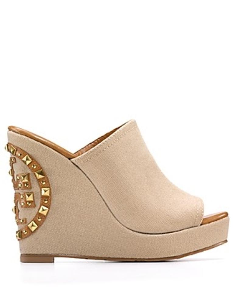 aa9fd3694 Tory Burch Beige Meredith Canvas Studded Wedges Size US 8.5 - Tradesy