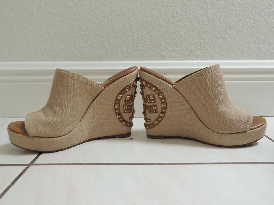 30f2d0c2f Tory Burch Beige Meredith Canvas Studded Wedges Size US 8.5 - Tradesy