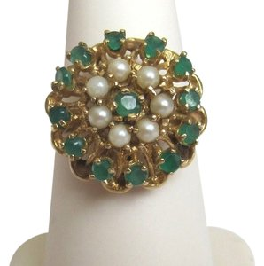 ANTIQUE VICTORIAN 14K Y/GOLD EMERALD AND SEED PEARL COCKTAIL RING EARLY 1900s
