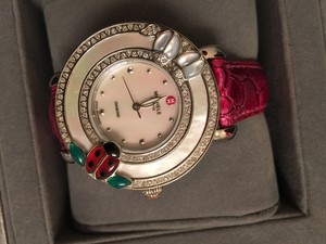 Michele NWT Authentic michele Diamond Cloette ladybug watch Mother of Pearl Dial Genuine Alligator-skin Strap $2495