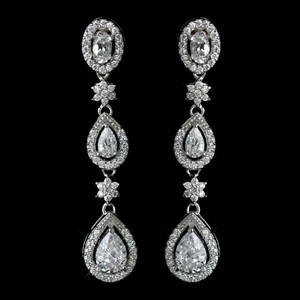 Elegance By Carbonneau Rhodium Plated Cz Dangle Wedding Earrings