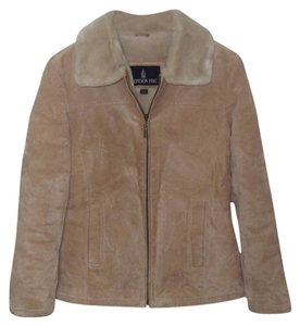 London Fog Leather Faux Fur Beige Leather Jacket