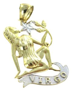 14KT WHITE YELLOW GOLD PENDANT ZODIAC SIGN ASTROLOGY VIRGO STAR WOMAN 1.2GRAMS
