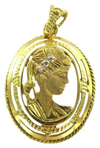 18KT YELLOW GOLD PENDANT 3 DIAMOND LADY CAMEO CHARM 9.4GRAMS VINTAGE FINE JEWEL