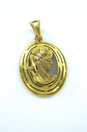 Other 18KT YELLOW GOLD PENDANT 3 DIAMOND LADY CAMEO CHARM 9.4GRAMS VINTAGE FINE JEWEL