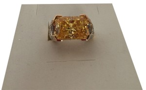 14 k gold over 925 silver sterling ring diamond cut citrin stone, white topaz Size 5.5