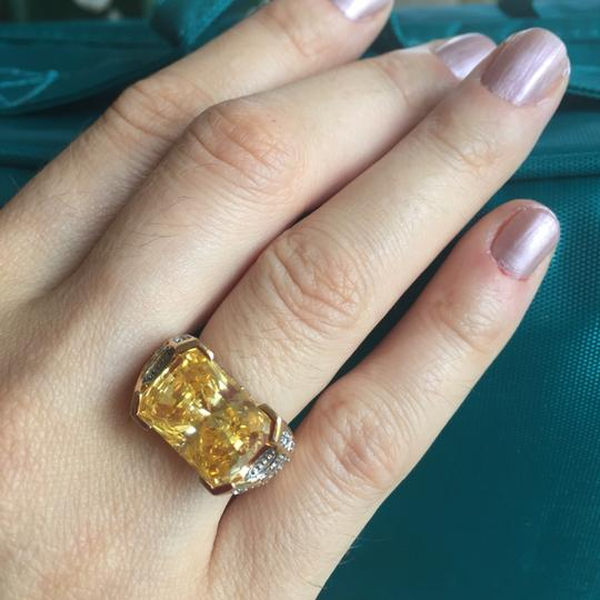 Other 14 k gold over 925 silver sterling ring diamond cut citrin stone, white topaz Size 5.5