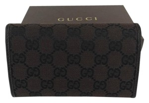 Gucci New in Box Gucci GG Logo Brown Denim Canvas Tri-Fold Wallet