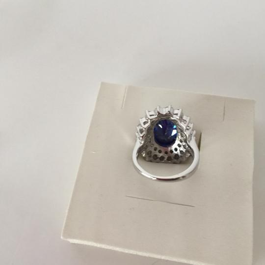 Other Sterling Silver Ring Blue Sapphire & CZ RING