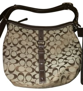 Coach Leather Handbag Brown Silver Hobo Chelsea Khaki Satchel Ladies Optic Signature Vuitton Speedy Neverfull Eva Favorite Cross Body Bag