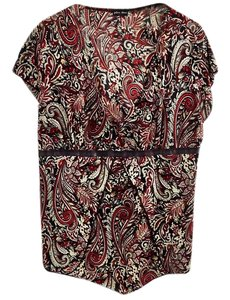 Julie's Closet Ribbon Trim V-neck Wrinkle-free Empire Waist Top paisley