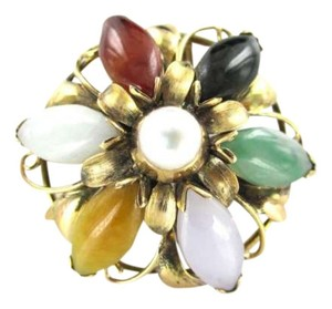 Vintage 14kt Yellow Gold Pin brooch Pendant Flower multicolor Jade Precious Stone