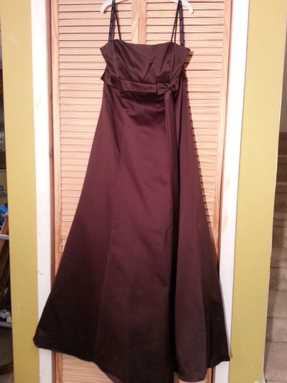 Alfred Angelo Espresso Satin 6133 Formal Bridesmaid/Mob Dress Size 14 (L)