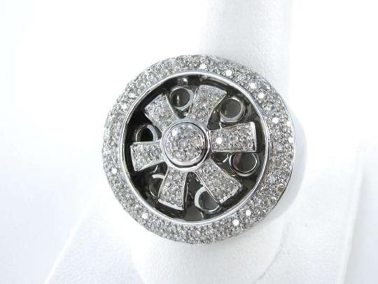 Other 14K WHITE GOLD DIAMOND SPINNER WHEEL RING SZ 12 CLUSTER JEWELRY MEN FATHERS DAY