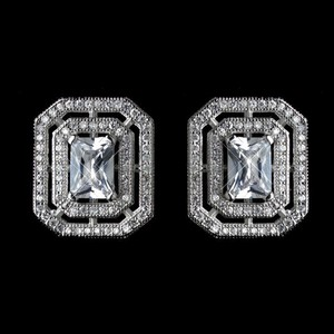 Elegance By Carbonneau Princess Cut Cz Stud Wedding Earrings