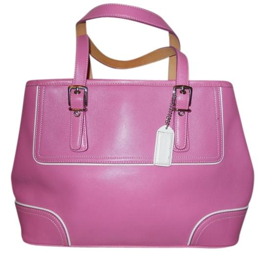 Preload https://item2.tradesy.com/images/coach-hamptons-9605-pink-and-white-leather-satchel-3396706-0-0.jpg?width=440&height=440