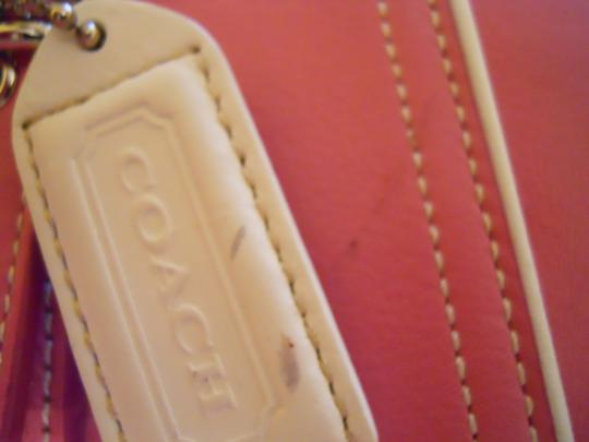 Coach Leather Tote Satchel in pink & white