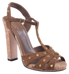 Gucci Studded Suede Brown Sandals