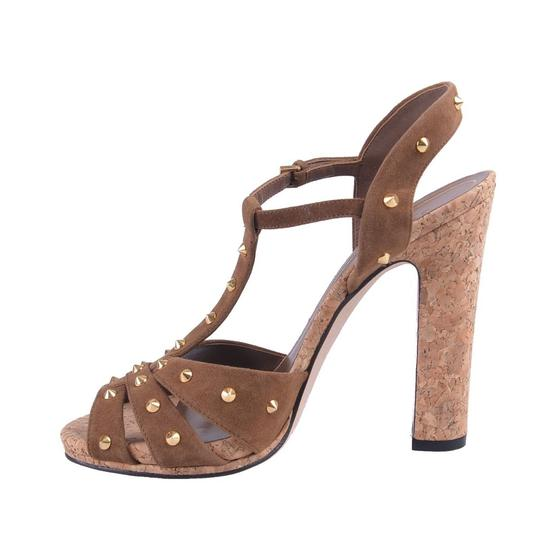 Gucci Studded Suede Brown Sandals Image 1